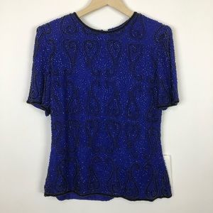 NWT vintage stenay sequin beaded cocktail top med